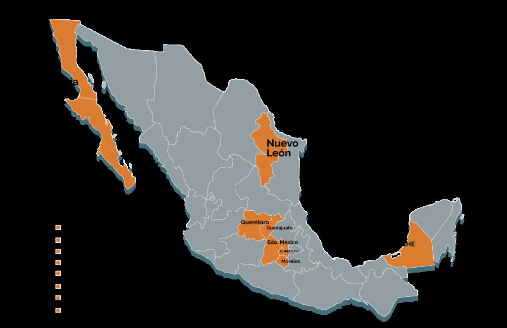 mapa de regiones productivas en México